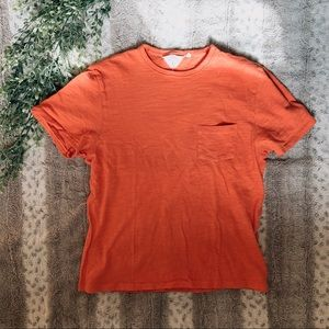 Rag & Bone Orange Men's Pocket Tee Cotton Shirt